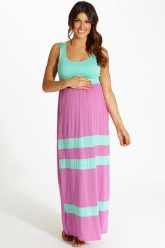 Magenta-Mint-Green-Striped-Bottom-Colorblock-Maternity-Maxi-Dress