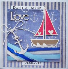 Kartka ślubna z motywem żeglarskim #żagle #kartkaślubna #scrapbooking #cardmaking