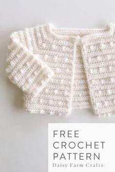 Free Crochet Pattern – Scattered Dots Baby Sweater – Crochet Pattern and ideas Crochet Baby Jacket, Crochet Baby Sweaters, Crochet Cardigan Pattern, Crochet Baby Clothes, Knitted Baby, Crochet Baby Stuff, Baby Sweater Patterns, Baby Knitting Patterns, Blanket Patterns