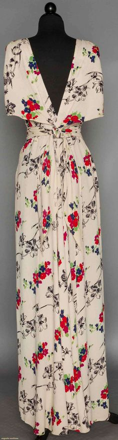 LONG PRINTED CREPE SUMMER DRESS, 1940s: White bias cut, floral print in diagonal rows, sleeveless surplice bodice, low V back