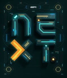 I recently had the privilege to work with ESPN The Magazine on their NEXT Feature. The project included a typographic Intro Illustration a flat logotype of the Intro type and some custom letters which later turned into a font.The feature is about up com… Game Design, Ui Design, Flat Design, Cyberpunk, Design Package, Web Design Mobile, Monospace, Magazin Design, 3d Typography