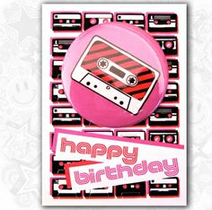 Birthday Pink Retro Tape Card With Cool Magnet