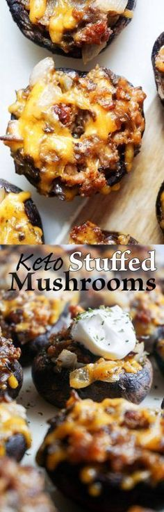 Keto Sausage Stuffed Mushrooms - mushrooms full of healthy, delicious Ketogenic and Low Carb foods!