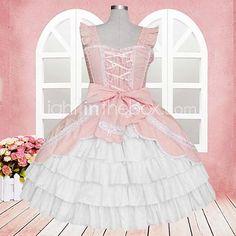 Uma-Peça/Vestidos Doce Lolita Cosplay Vestidos Lolita Rosa Rendas Sem Mangas Comprimento Médio Vestido Para Feminino Algodão de 2017 por R$304.17