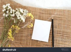 Blank White Note And Pencil On Gunny Sack And White Wood Table Stock Photo 258700331 : Shutterstock