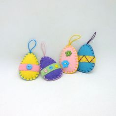 4 Wool Felt Penny Rug Style Easter Egg Ornaments by maryimp, $20.00