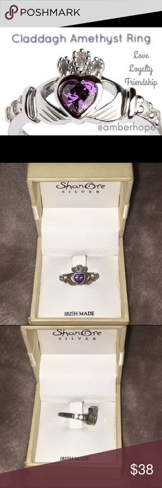 Sterling Silver Claddagh Amethyst Ring Irish Made Beautiful Irish Made Sterling Silver Claddagh ring with Amethyst (February Birth Stone) and cubic zirconia side stones. There are 3 parts to the the Claddagh, Love, represented by the heart, Loyalty, represented by the crown and Friendship, represented by the hands holding it all together. ShanOre Silver Jewelry Rings