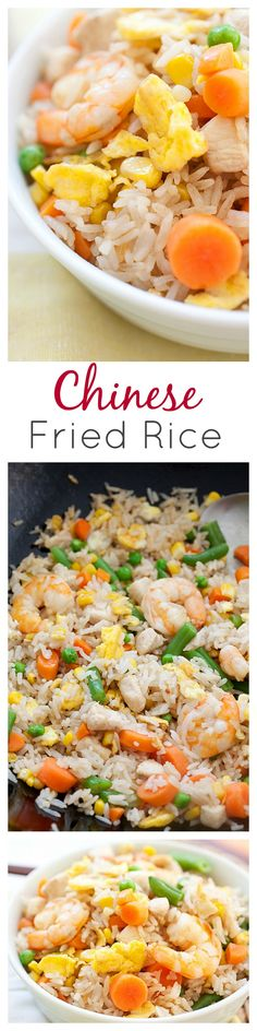 Fried Rice is a popular Chinese food. Easy fried rice recipe with rice, eggs, chicken, shrimp and tastes so much better than Chinese takeout Rice Recipes, Seafood Recipes, Asian Recipes, Cooking Recipes, Healthy Recipes, I Love Food, Good Food, Yummy Food, Popular Chinese Food
