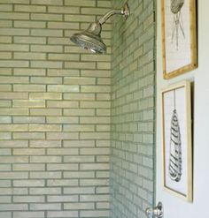Hmm. I kind of dig this lighter, greenish/gray subway tiling too. Simple without being boring, but I might decide it looks dated later on.