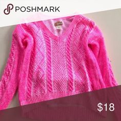 Hot neon pink cable knit sweater Perfect condition! Great for upcoming winter! Size XS Sweaters Crew & Scoop Necks