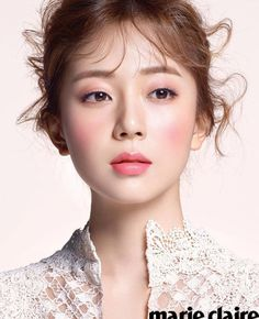 In the beauty section of January's Marie Claire, Baek Jin Hee shows different colors of Shu Uemura lipstick. Asian Makeup, Korean Makeup, Korean Beauty, Asian Beauty, Bride Makeup, Wedding Makeup, Hair Makeup, Make Up Looks, Beauty Shoot