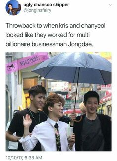 Kris and Chanyeol work for multi billionaire businessman Jongdae