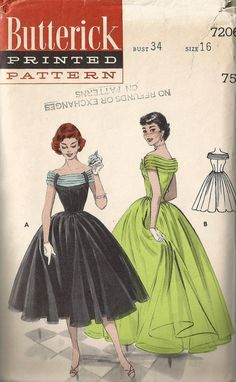 Vintage 50's BUTTERICK 7206 Party COCKTAIL by happybirthdaymrpres, $85.00