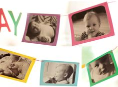 DIY Paint Chip Birthday Banner - would be fun to add to it each year w/ new pics
