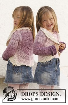 "Crochet DROPS circle jacket in 2 strands ""BabyAlpaca Silk"". Size 3 - 12 years."