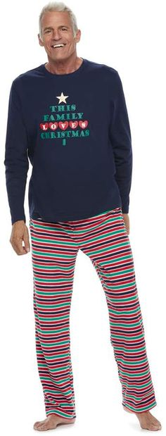 """Men's Jammies For Your Families """"This Family Loves Christmas"""" Top & Microfleece Striped Bottoms Pajama Set Happy Christmas Day, Family Christmas Pajamas, Christmas Tops, Pajama Set, Pajama Pants, Pre Pregnancy, Baby Size, Family Love, Toddler Boys"""