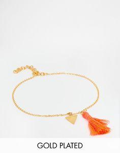 De fedeste Ottoman Hands Tassel Anklet - Gold Ottoman Hands Kropssmykker til Damer i dejlige materialer