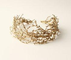 Golden bridal headpiece Gold wedding crown Bridal von whichgoose