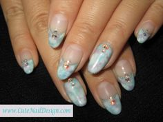 Light Blue Nail Designs | marble nails マーブル nail art ネイルアート rhinestone arts ...