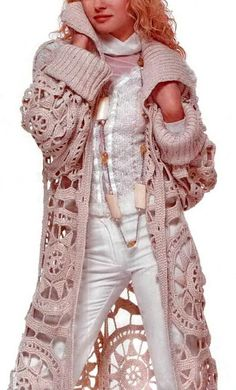 ♥ Crochet Sweater: Crochet Cardigan - Stylish Long Cream Crochet Lace Cardigan/Coat (hva)