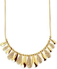 Nine West Gold Gold Tone Crystal Teardrop Frontal Necklace