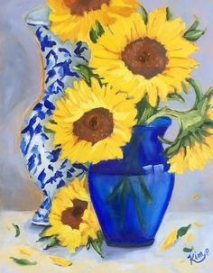 Original oil painting: Sunflowers in Blue Vase by KIMPETERSONART