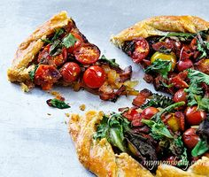 BLT Crostada (Manchego Cheese, Caramelized Onions, Halved Cherry Tomatoes, Smokey Bacon and Just at the End of Cooking, Handfuls of Mixed Baby Lettuces)