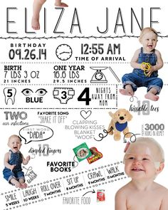 First Year Birthday Infographic by CocoJuneDesigns on Etsy