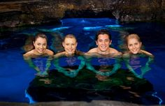 Real-life mermaids, Sirena, Nixie and Lyla are part of a mermaid pod, which… Mako Mermaids Tails, H2o Mermaid Tails, H2o Mermaids, Mako Island Of Secrets, Moon Pool, Netflix, Mermaid Wallpapers, Mermaid Swimming, Mermaid Pictures
