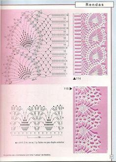 Many Free crochet edging diagram, chart patterns. by milagritos Crochet Edging Patterns, Crochet Lace Edging, Crochet Borders, Lace Patterns, Thread Crochet, Crochet Trim, Knit Or Crochet, Irish Crochet, Crochet For Kids