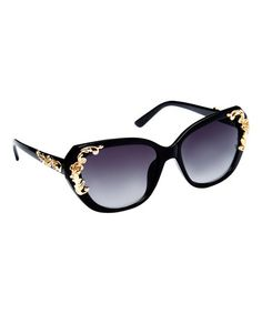 Loving this Black & Gold Butterfly Sunglasses on #zulily! #zulilyfinds