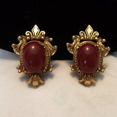 Florenza Victorian Revival Red Carnelian Cabochon Gold Plate | Etsy Carnelian, Clip On Earrings, Cufflinks, Great Gifts, Plate, Victorian, Brooch, Red, Accessories