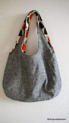 Reversible fabric shoulder bag - pattern and tutorial.