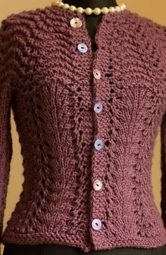 """Feather and Fan """"Liesl"""" sweater - Quick Knit using washable Vanna's Choice"""
