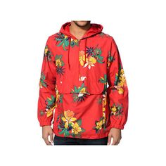 Obey Pipeline Red Floral Windbreaker Jacket ($105) ❤ liked on Polyvore featuring activewear, activewear jackets, jackets, tops, outerwear and obey clothing