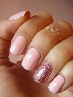 Baby pink nailpolish with a rose glitter accent nails by aurora