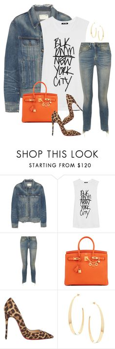 """Untitled #311"" by nelafashion ❤ liked on Polyvore featuring rag & bone, BLK DNM, R13, Hermès, Christian Louboutin and Lana"
