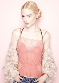Jaime King's porcelain skin and shimmery peach makeup