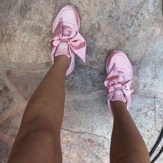 4062053ee8cb25 Puma X Fenty Rihanna bow silk pink trainers Stilettos