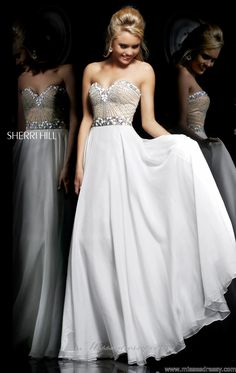 Sherri Hill 1923 - white embellished prom dress