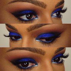 "Electric @Sugarpill Cosmetics Cosmetics ""velocity"" on the lid. @Sugarpill Cosmetics Cosmetics ""Flamepoint"" and @motivescosmetics vino and onyx in the crease. @anastasiabeverlyhills ""brunette"" brow powder duo. @flutterlashesinc ""Annabelle"" lashes. @sophia oranje Cosmetics ""sunrise blue"" eyeliner in the wa"