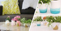 Atelier DIY : pots de fleurs avec des pots de yaourts en verre (aquarelle vernis et peinture)