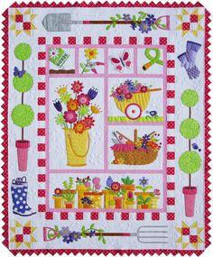 """""""Garden Quilt"""" Pattern at Amy Bradley Designs, includes flower baskets, gardening gloves, wellies, spade and pitchwork"""