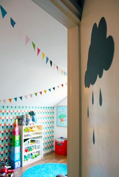 Welcome to the kidsroom fun bright and playful isak wallpaper chalkboard cloud diy