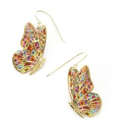 Colorful Gold Butterfly Earrings