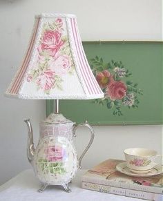 """Teapot lamp - I love this shabby chic lamp shade. If you study this lamp and shade, you'll see that it really is quite unique and not as """"froo-frooey"""" as a lot of """"shabby chic"""" exemplars (not the best word but best I can do right now)! Shabby Chic Lighting, Shabby Chic Lamp Shades, Rustic Lamp Shades, Modern Lamp Shades, Shabby Chic Floor Lamp, Small Lamp Shades, Floor Lamp Shades, Shabby Chic Style, Shabby Chic Decor"""