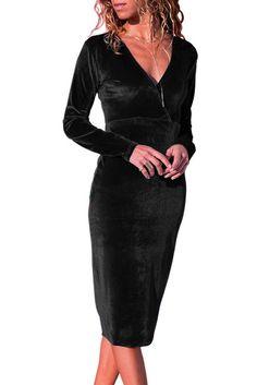 Black Long Sleeve V Neck Sleek Velvet Midi Dress Velvet Midi Dress, Black Midi Dress, Velvet Dresses, Bodycon Dress Formal, Cheap Dresses Online, Pullover Designs, Ladies Dress Design, Dresses With Sleeves, Midi Dresses