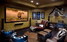Картинки кинотеатр дома, комната в стиле сафари на рабочий стол » Интерьер