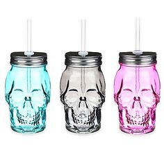Sip on your favorite libation in the dark and moody Skull Shaped Mason Jar. The 17 oz. cup is made of translucent glass, and includes a screw top lid and plastic straw. Perfect for Halloween or for serving drinks in unique fashion.