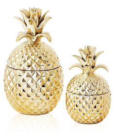 GOLD PINEAPPLE JARS (TWO SIZES)